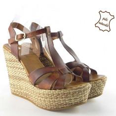 Sandale dama piele naturala 034 Maro, Marime: 38, 39, 41