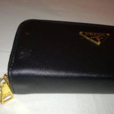 Portofel, portmoneu dama PRADA de culoare neagra, mat, cu 2 fermoare, deosebit - Portofel Dama Prada, Culoare: Negru, Cu fermoar