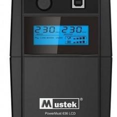 PowerMust 636 LCD (650VA), Line Int., Schuko - UPS Mustek