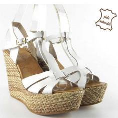Sandale dama piele naturala 034 Bianco, Marime: 35, 37, 39, 40, 41