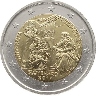NOU - Slovacia moneda 2 euro 2017 - Universitatea Istropolitana  - UNC foto