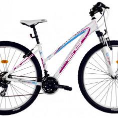 Bicicleta DHS Terrana 2922 (2016) Culoare Alb/Roz 457mmPB Cod:21629224591 - Mountain Bike DHS, 18 inch