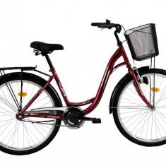 Bicicleta DHS Citadinne 2632 (2016) Culoare Visiniu/Alb/Negru 430mmPB Cod:21626324349 - Bicicleta de oras