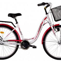 Bicicleta DHS Citadinne 2636 (2016) Culoare Alb/Negru/Roz 430mmPB Cod:21626364396 - Bicicleta de oras