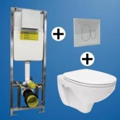 SET REZ.WC 'SAN 100' CU CADRU 3-6L+PLACUTA ALBA DUBLA COMANDA+VAS WC SUSPENDAT DELFI