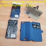Husa piele ecologica tip carte Allview P9 Energy Mini bleumarin si negru - Husa Telefon Allview, Cu clapeta