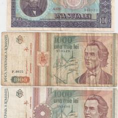ROMANIA 100 lei 1966, 1000 lei 1991 si 1993 - pret per lot - Bancnota romaneasca