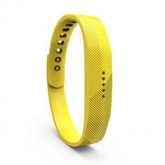 Bratara de rezerva din silicon pentru Fitbit Flex 2, galben - Bratara silicon