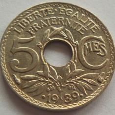 Moneda istorica 5 Centimes - FRANTA, anul 1939 *cod 4178 a.UNC