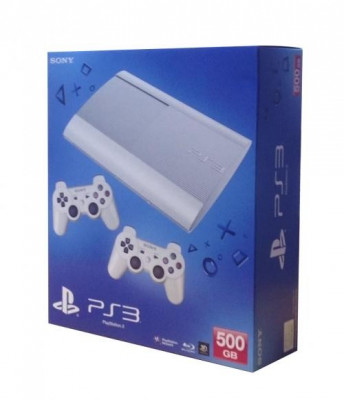 Consola PlayStation 3 Ultra Slim 500 GB White + 2 controllere foto