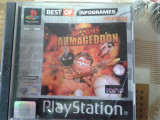 Vand jocuri ps1 colectie, WORMS ARMAGEDDON, playstation 1, Single player, Strategie, 12+