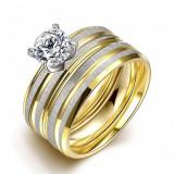 inel din inox placat cu aur de 24k
