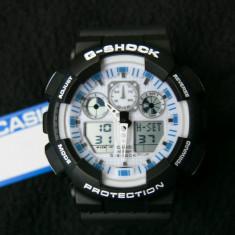 CASIO G-SHOCK GA-100-1A4ER WHITE DISPLAY-SUPERB-MADE IN JAPAN-MANUAL-POZE REALE - Ceas barbatesc Casio, Sport, Quartz, Cauciuc, Alarma, Analog & digital