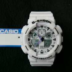 CASIO G-SHOCK GA-100-1A4ER PEARL WHITE DESIGN-MADE IN JAPAN-MANUAL-POZE REALE !! - Ceas barbatesc Casio, Sport, Quartz, Cauciuc, Alarma, Analog & digital