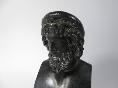 g Bust vechi de personaj grec, antimoniu patinat, statueta veche foto