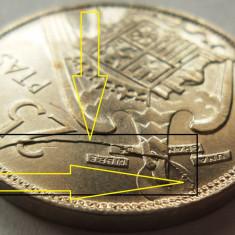 Moneda 25 Pesetas - SPANIA, anul 1957 *cod 866 xF EROARE MAJORA DE BATERE!!!