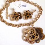 Set bijuterii(colier + pandantiv + cercei)placat cu  Aur 18k si Swarovski+CUTIE
