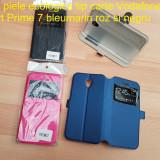 Husa piele ecologica tip carte Vodafone Smart Prime 7 bleumarin roz si negru - Husa Telefon Vodafone, Cu clapeta