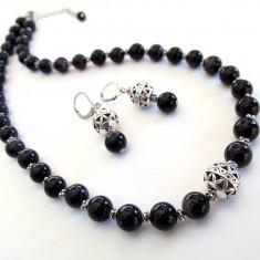 Set Piatra Soarelui albastra cu insertii filigran - Set bijuterii handmade si fashion