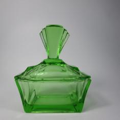 G Vas vechi pentru cosmetice, Art Deco din sticla de culoare verde
