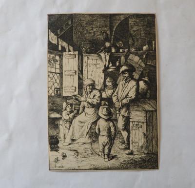 """Adriaen van Ostade """"Scena de interior"""" gravura veche foto"""