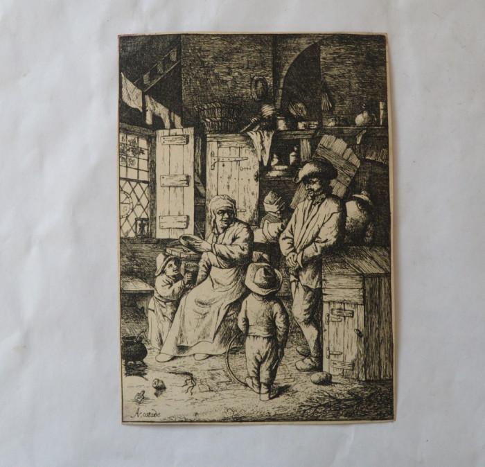 """Adriaen van Ostade """"Scena de interior"""" gravura veche foto mare"""
