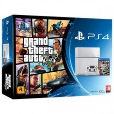 Consola PlayStation 4 White + joc Grand Theft Auto V