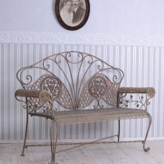 BANCA ART NOUVEAU DIN FIER FORJAT ANTICHIZAT WK006 - Banca de gradina