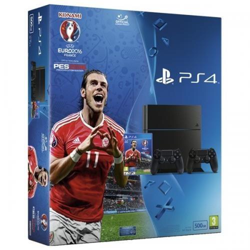 Consola PlayStation 4 + extracontroler Dualshock 4 + joc UEFA EURO 2016