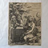 "Hendrick Goltzius ""Suzana si batranii"" gravura veche - Pictor strain, Religie, Cerneala, Realism"