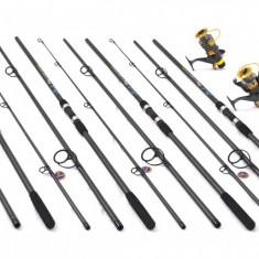 KIT4 lansete FINOCARP 3, 9m, 4 mulinete KT5000 baitrunner 6 rulmenti, rodpod FULL - Set pescuit