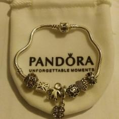 Bratara PANDORA + 7 charmuri cadou model NOROC TRIFOI 1 MARTIE placata argint - Bratara argint pandora, Femei