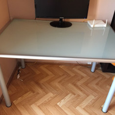 IKEA masa birou cu blat sticla groasa, securizata, alb, picioare oțel și marginile groase, învelesc sticla - Masa Laptop