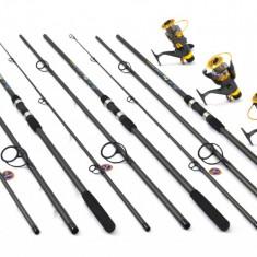 KIT 3lansete FINOCARP 3, 6m, 3mulinete KT500 baitrunner 9 rulmenti si rodpod full - Set pescuit