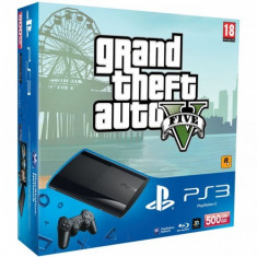 Consola SONY PS3 Super Slim 500 GB + joc Grand Theft Auto V PS3 - PlayStation 3