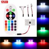 Set Placute LED T10 SOFIT 12 SMD Lumina Ambientala Auto, Multicolora RGB cu Telecomanda si Intensitate Reglabila