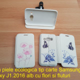 Husa piele ecologica tip carte Samsung Galaxy J1.2016 alb cu flori si fluturi - Husa Telefon Samsung, Cu clapeta