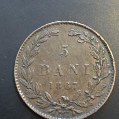 5 bani 1867 W stare f buna - Moneda Romania