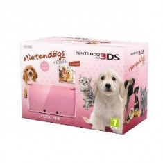 Consola Nintendo 3DS Coral Pink cu Nintendogs and Cats - Golden Retriever