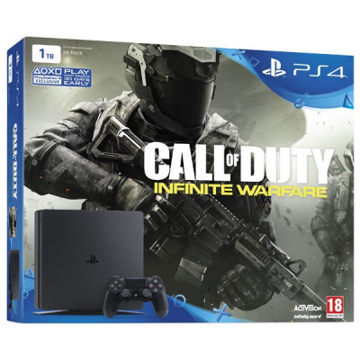 Consola Playstation 4 SLIM 1TB negru + Joc Call of Duty: Infinite Warfare foto