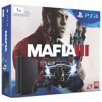 Consola Sony Playstation 4 SLIM, 1TB, negru + Joc Mafia 3 foto