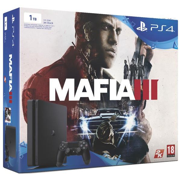 Consola Sony Playstation 4 SLIM, 1TB, negru + Joc Mafia 3 foto mare