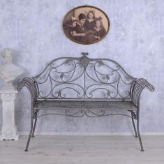 BANCA ART NOUVEAU DIN FIER FORJAT ANTICHIZAT WK016 - Banca de gradina