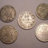 Lot 50 bani 1900, 50 bani 1910, 50 bani 1911, 50 bani 1912 si 50 bani 1914 - Moneda Romania