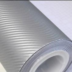 Gri Argintiu 3D Folie Carbon Auto 100 cm x 152 cm (1 m x 1.52 m) Air Bubble Free - Folie Auto