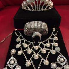 Set bijuterii mireasa diadema tiara