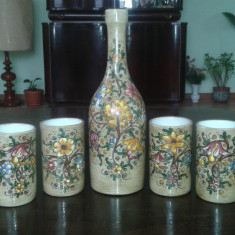 Sticla cu pahare ceramica BAFFONI GUBBIO Italia pictate manual