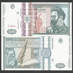 ROMANIA 500 LEI 1992 UNC [01] necirculata, filigran FATA - Bancnota romaneasca