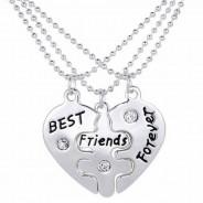 123123Pandantiv  Colier Lantisor Medalion - BFF BEST Friend FRIENDS puzzle (SET 3 BUC)