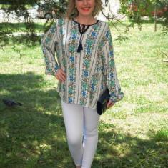 Bluza cu maneca lunga, nuanta de crem, motive florale, snur inserat (Culoare: CREM, Marime: 56)